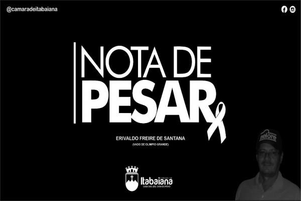 Nota de pesar pelo falecimento do ex-vereador Vado de Olímpio Grande